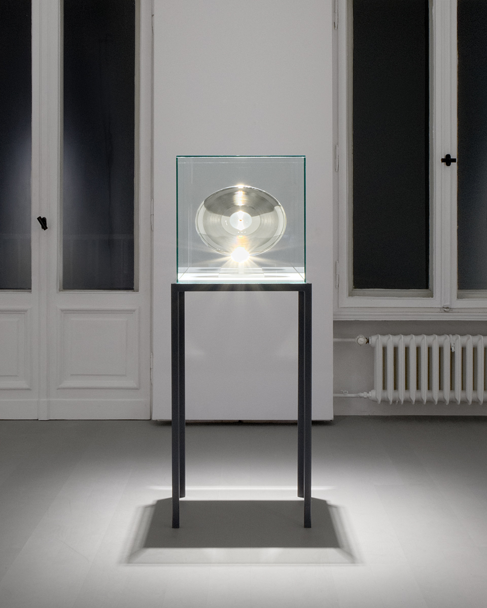 "Disc, 2017 Father Stamper (Used in the Vinyl Record Production of ""Score""), Museum Mount, Glass Display Box, Metal Stand   50 H x 20 L x 18 W inches"
