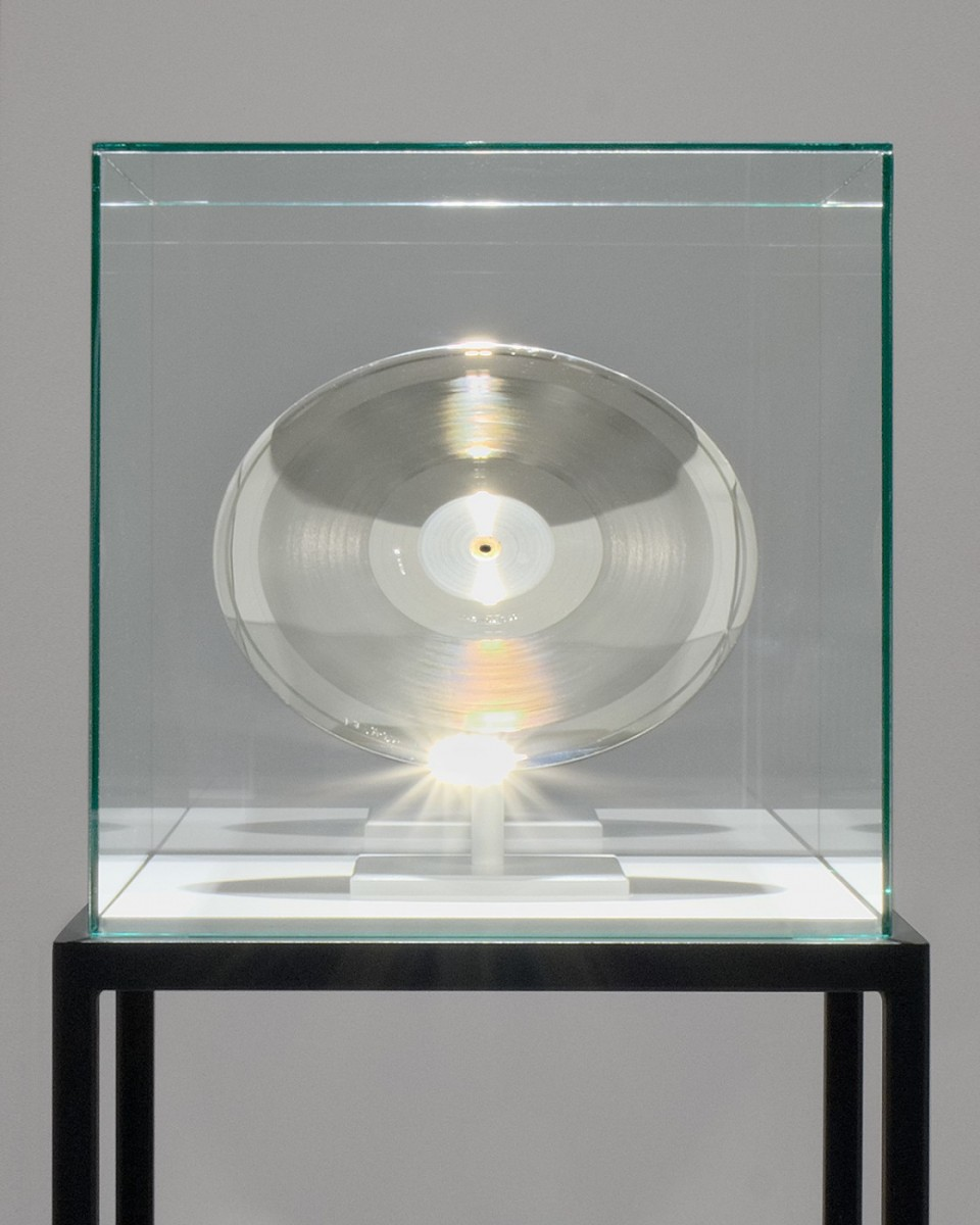 "Disc, 2017 Father Stamper (Used in the Vinyl Record Production of ""Score""),Museum Mount, Glass Display Box, Metal Stand   50 H x 20 L x 18 W inches"